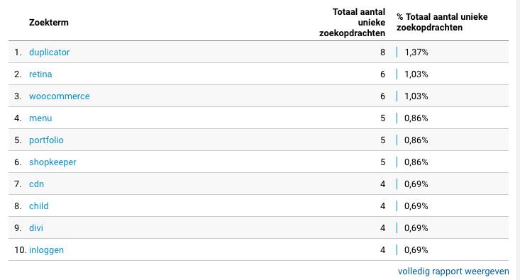 Zoekopdrachten Google Analytics