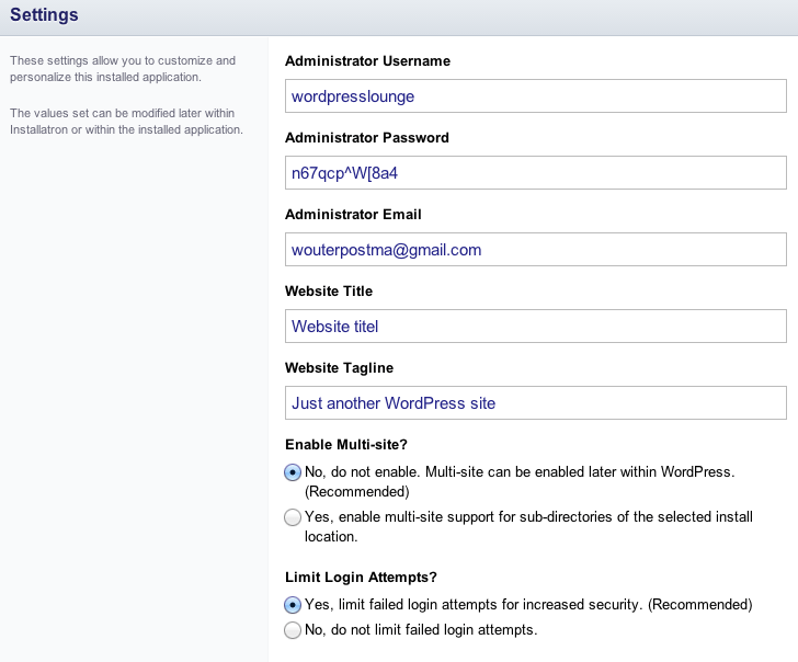 WordPress installeren met Installatron