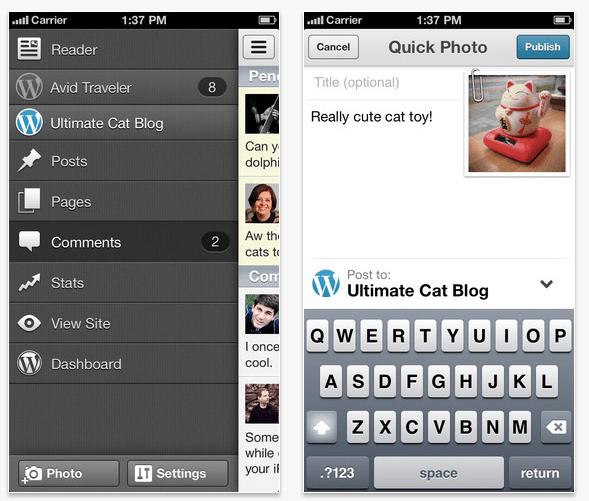 De WordPress-app voor iOS.