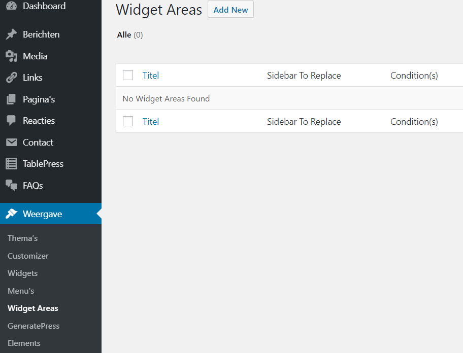 Weergave - Widget Areas