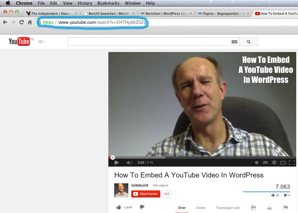YouTube embed op WordPress website