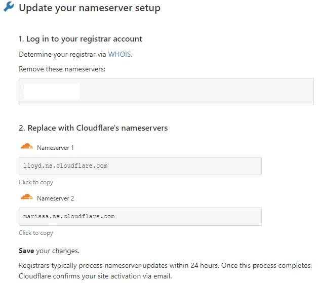 Cloudflare nameserver setup