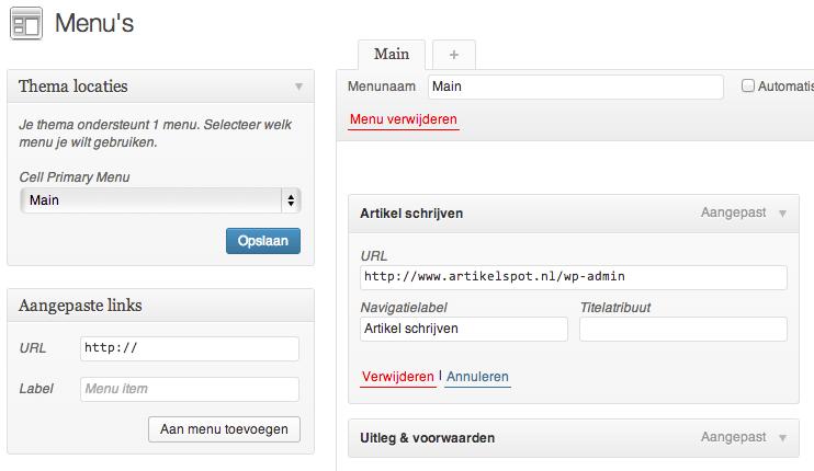 WordPress artikel toevoegen menu link