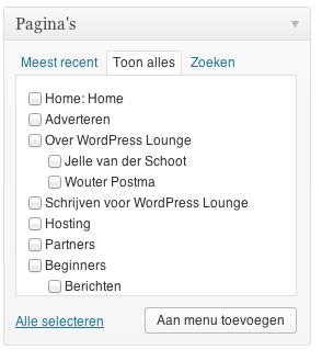Pagina's aan WordPress menu toevoegen