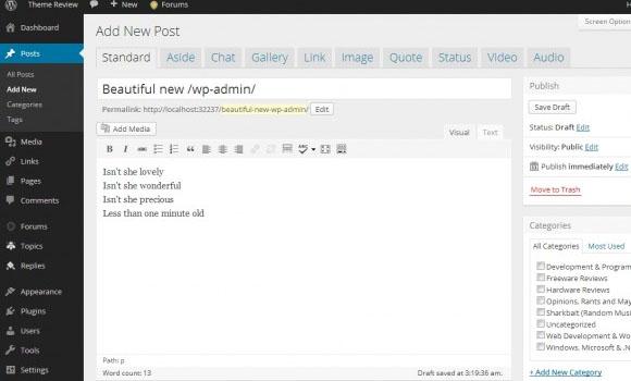 WP-admin update WordPress 3.6