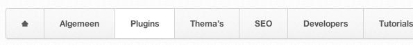 Links in onze menu-balk verschijnt er een Home-knop, maar alleen wanneer je je niet op onze home-pagina bevindt.
