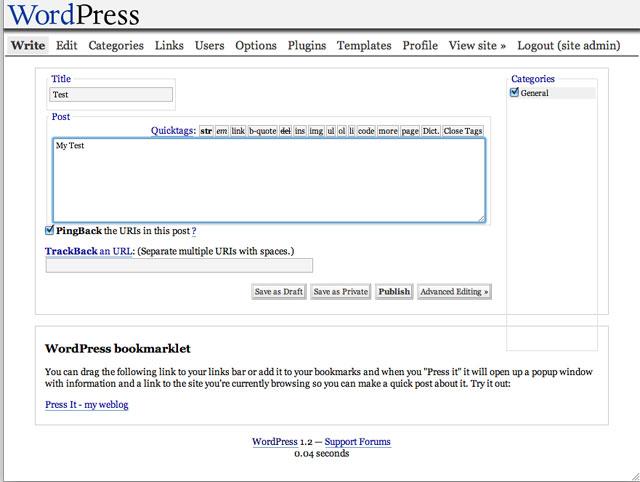 """De """"admin"""" van WordPress 1.2."""