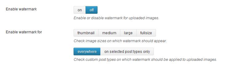Image Watermark beheerpaneel