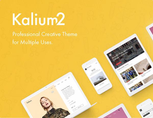 Kalium: Uniek en creatief Full-Screen WordPress Theme