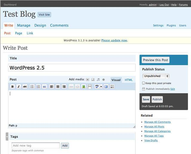 De back-end van WordPress 2.5.