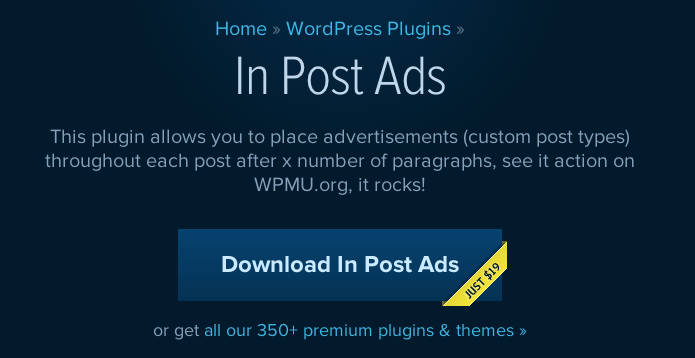 "De ""In Post Ads"" plugin van WPMU DEV."