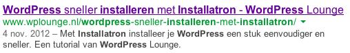 Zoekresultaat WordPress Installatron