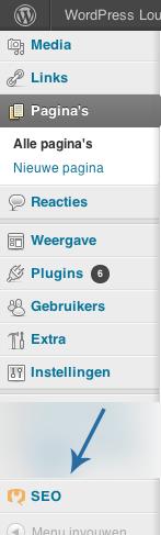 De WordPress SEO-plugin voegt een nieuw menu-item toe aan WordPress.