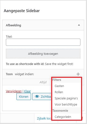 Sidebar filters toepassen