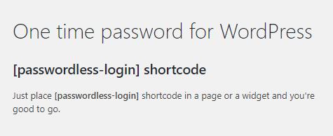 Passwordless shortcode