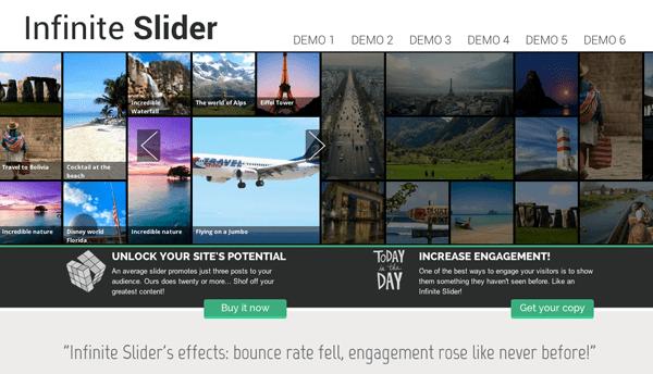 Een voorbeeld van Infinite Slider,