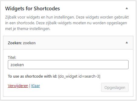 Widgets voor shortcodes