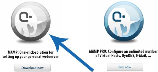 Download MAMP, en niet MAMP PRO.