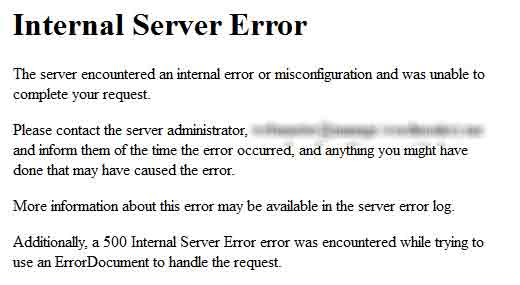 Error 500 - Internal Server Error