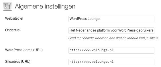De Algemene instellingen van WordPress.