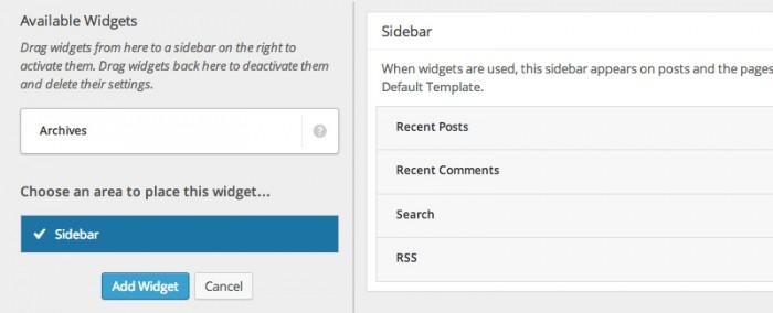 """De nieuwe """"Widget Area Chooser"""""""