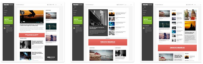 Drie verschillende blog-indelingen mogelijk (klik voor groter).