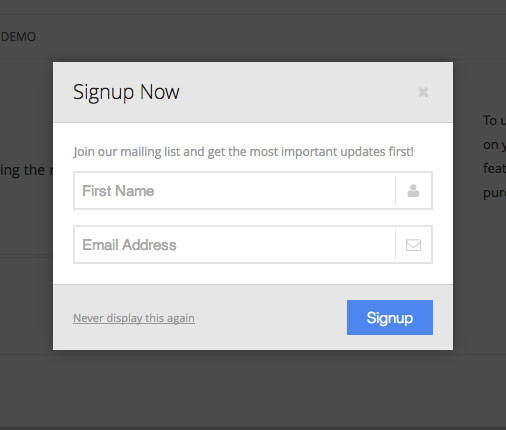 MailChimp Popup Plugin