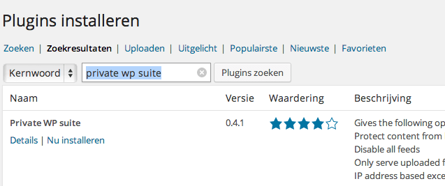 Zoek en installeer de plugin Private WP Suite