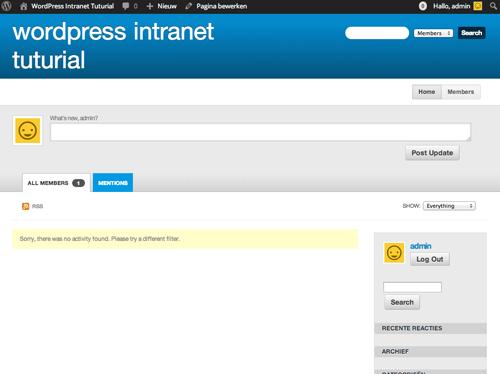 De voorkant van ons intranet
