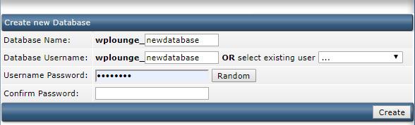 Duplicator database aanmaken