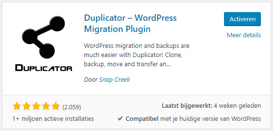 Duplicator-installatie