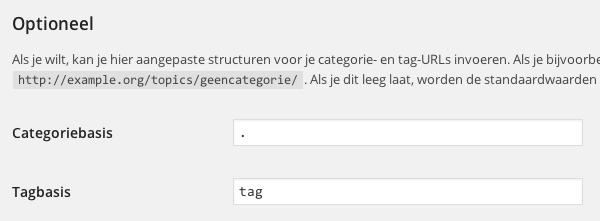 """Wanneer je een punt invult, haalt WordPress """"/category/"""" weg uit je URL."""