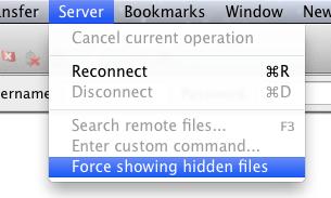 Verborgen bestanden zichtbaar maken in FileZilla.