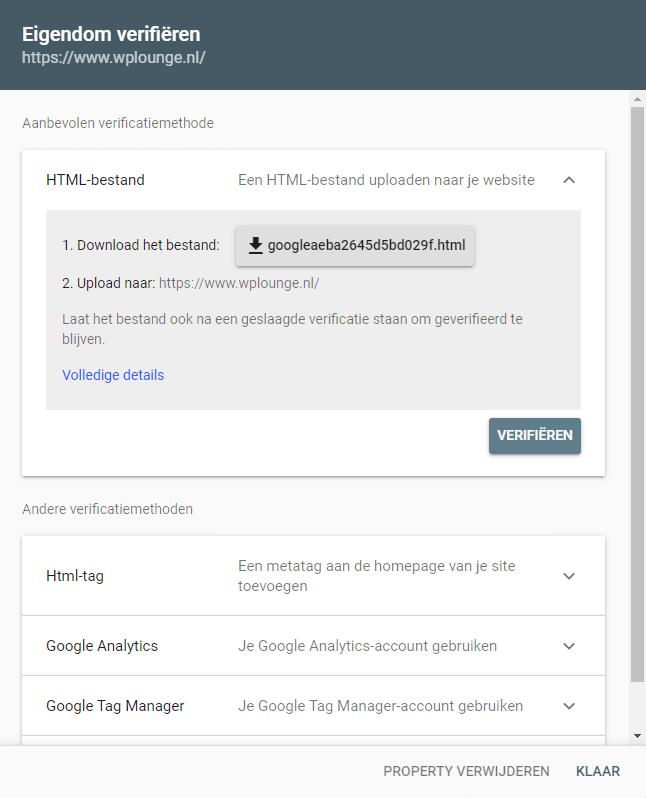 Eigendom verifieren met Google Search Console