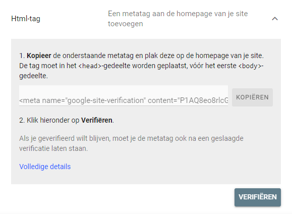 HTML tag van Google Search Console