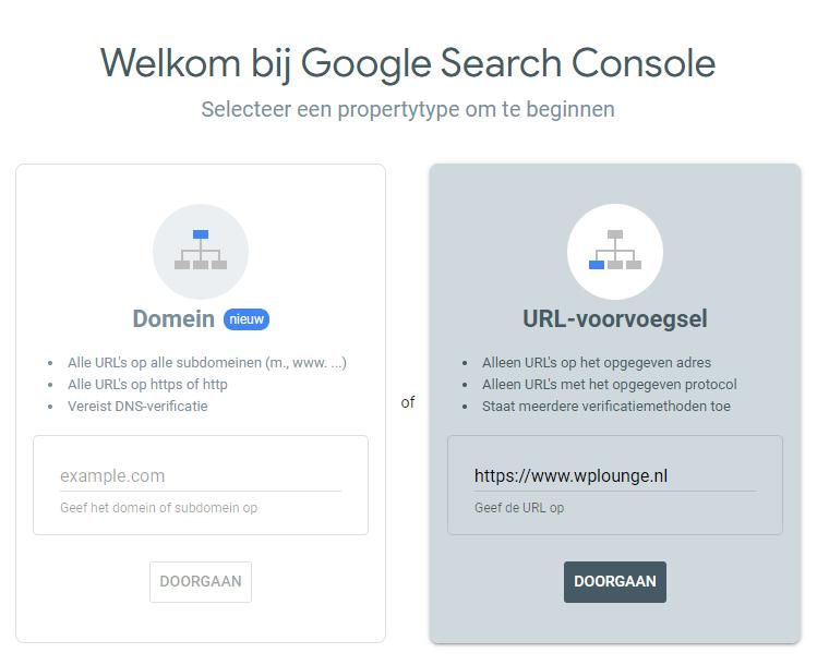 Search Console koppeling maken