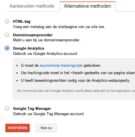 Google Webmaster Tools koppelen aan website