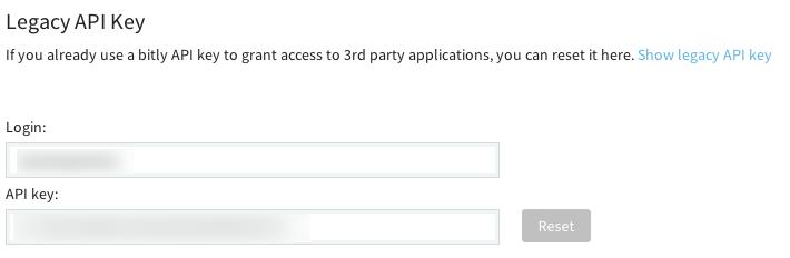 De Legacy API Key van Bitly achterhalen.