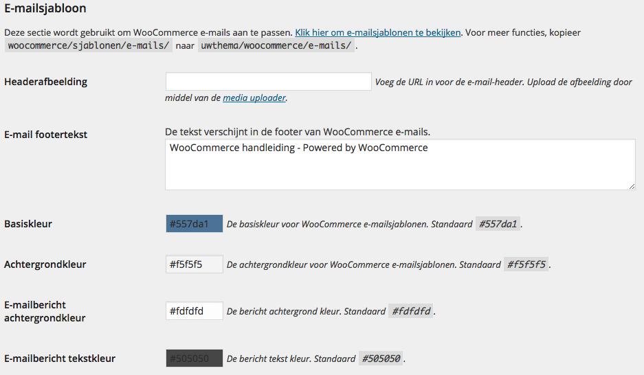 Instellingen e-mailsjabloon WooCommerce