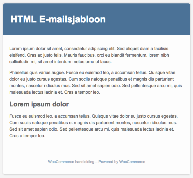 Standaard E-mailsjabloon WooCommerce