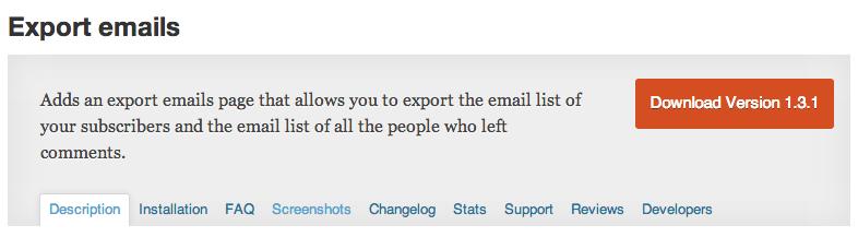 Export email adressen plugin