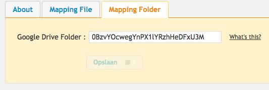 Vul het ID in van de Google Drive folder.