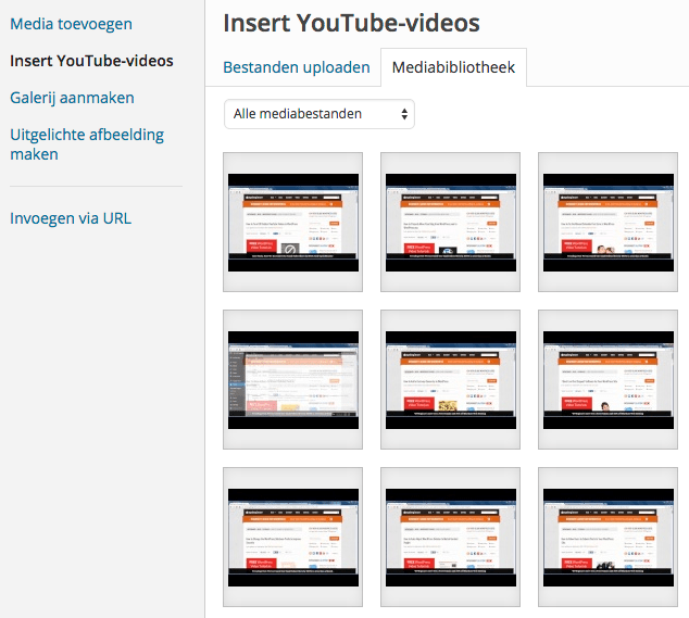 YouTUbe in mediabibliotheek.
