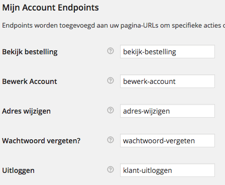 WooCommerce account endpoints