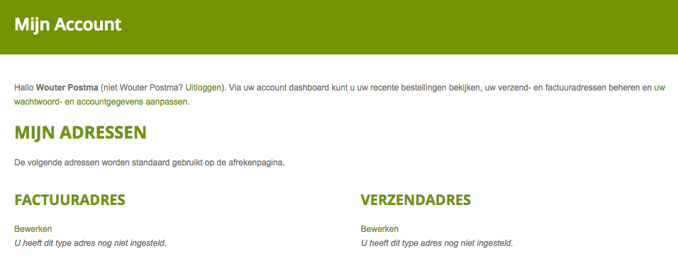 Mijn account WooCommerce
