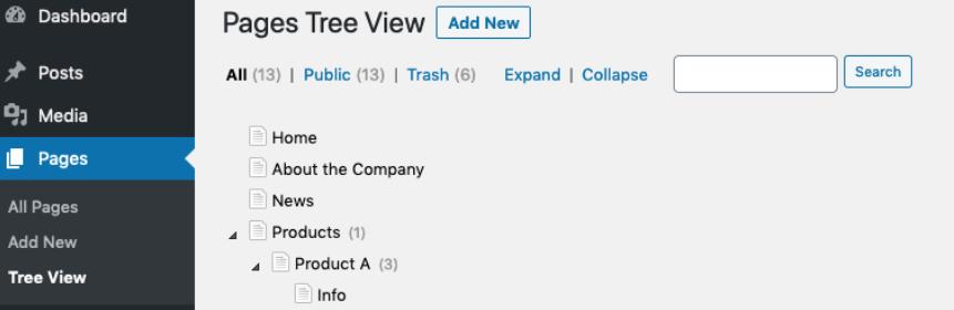 CMS tree view plugin