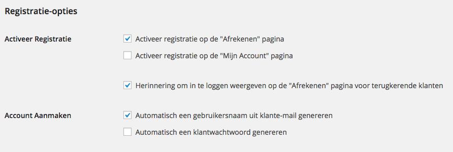 WooCommerce Registratie-instellingen