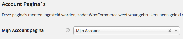 WooCommerce accounts instellingen
