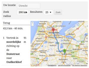 WordPress Store Locator Routebeschrijving (klik voor groter)