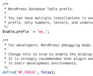 Prefix en Debug